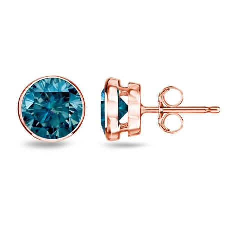 Auriya 1/4 to 2ctw Bezel-set Blue Diamond Stud Earrings 14k Rose Gold