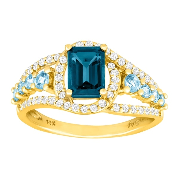 1 7/8 ct Natural London & Swiss Blue Topaz & 1/3 ct Diamond Ring in 14K Gold