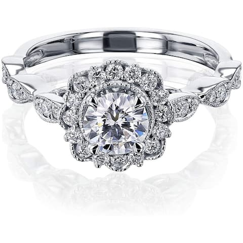 Annello by Kobelli 10K Gold Forever One Moissanite The Floral Spring Ring (DEF/VS, HI/I)