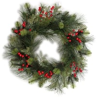 "Traditional Berry Pine Wreath 24""-"