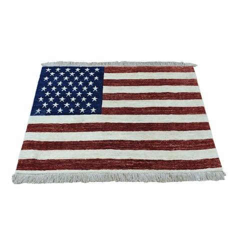 "Shahbanu Rugs Hand Knotted Pure Wool Peshawar American Flag Wall Hanging Rug (2'5"" x 4'0"") - 2'5"" x 4'0"""