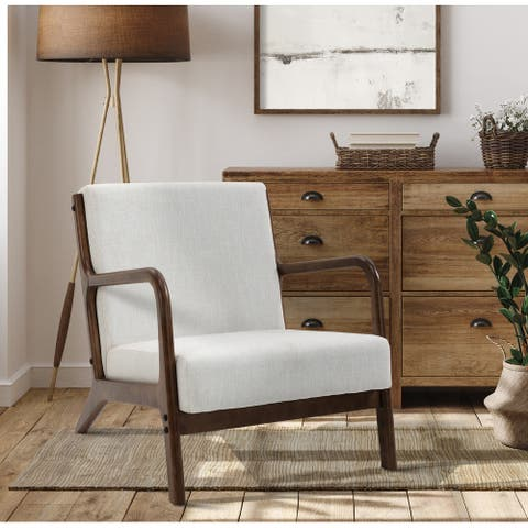 Solid Wood Armchair With Curved Frame