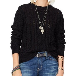 Denim & Supply Ralph Lauren Distressed Cable Knit Long Sleeve Sweater - XS