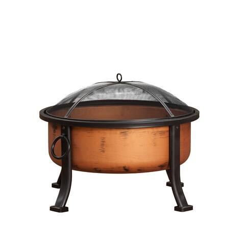 "Fire Sense 62342 Lumina 26"" Wide Circular Free Standing Wood Burning Steel Firepit with Multipurpose Fire Tool/Screen Lifter -"