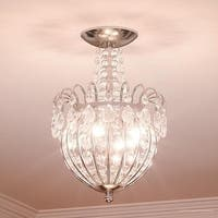 """Luxury Crystal Semi-Flush Ceiling Light, 13.5""""H x 9.5""""W, with Victorian Style, Cascading Design, Polished Silver Finish"""