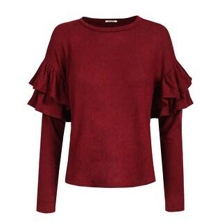 NE PEOPLE Womens Shoulder Petals Long Sleeve Soft Sweater Top[NEWT347]