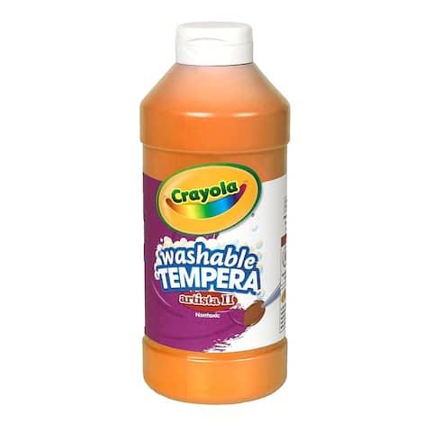Artista II® Washable Liquid Tempera Paint, Orange, 16 oz. Bottles, Pack of 6 - Orange - 16 oz.