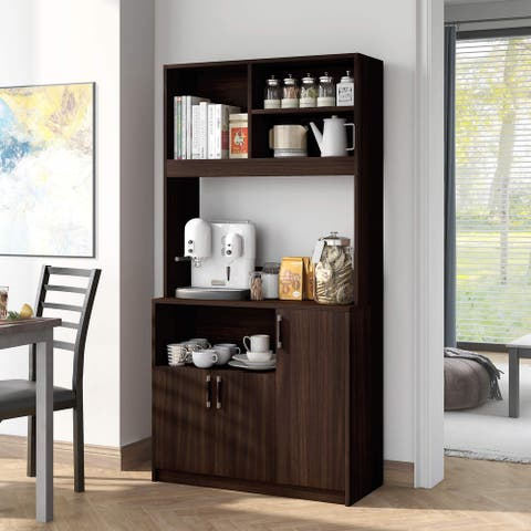 Furniture of America Cail Rustic Wenge 4-shelf Standing Server
