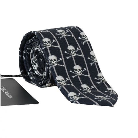 Dolce & Gabbana Blue Silk Skull Striped Print Men's Tie - One Size