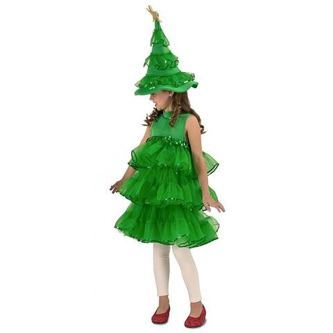 Glitter Christmas Tree Child Costume Small - Green