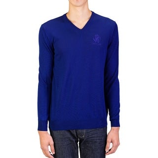 Roberto Cavalli Men's V-Neck Wool Sweater Blue