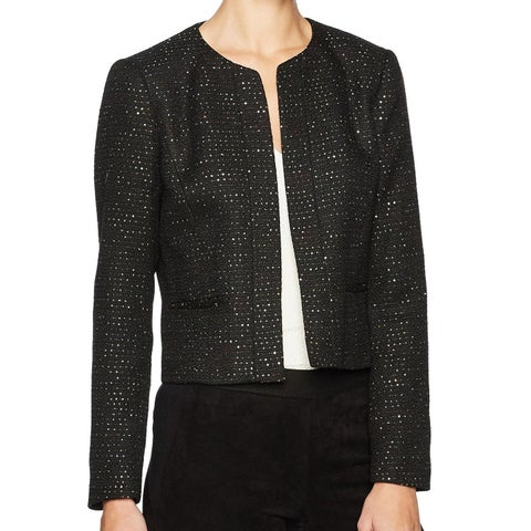 Nine West Black Women's Size 14 Sequin Tweed Fly Away Jacket