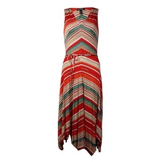 Lauren Ralph Lauren Women's V-Neck Stripe Belted Dress (S, Multi) - s