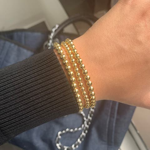 Beaded Bracelet 18k Gold Stretch 5mm by Joelle Collection