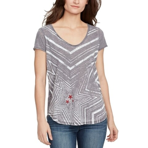 William Rast Gray Women's Size XXL Graphic Stars Tee-Shirt Top