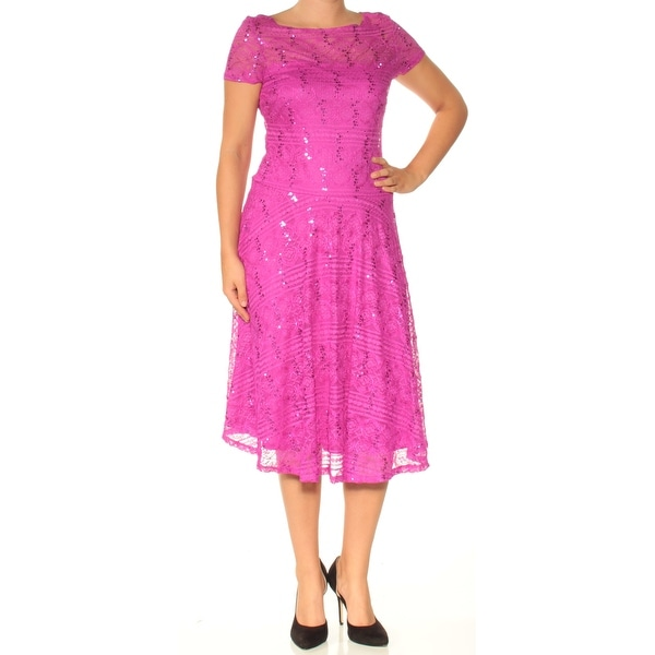 Flare Dress Us Size Dkny Womens Pink Printed Short Sleeve V