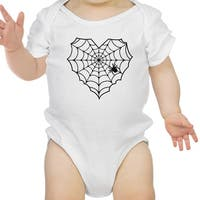 Heart Spider Web Baby Halloween Bodysuit White Cotton Infant Bodysuit