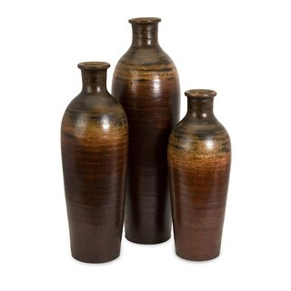 Set of 3 Rustic Aged Brown Ombre Fired Clay Mexican Inspired Flower Vases