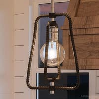 "Luxury Industrial Chic Pendant Light, 12.375""H x 12.5""W, with Vintage Style, Polished Chrome Finish by Urban Ambiance"