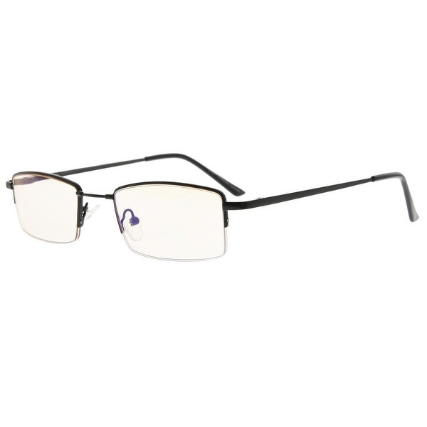 60cdf20b1b2e Eyekepper Half-rim Titanium Bridge Reading Glasses Blue Light Blocking  Readers Amber Tinted Lenses(
