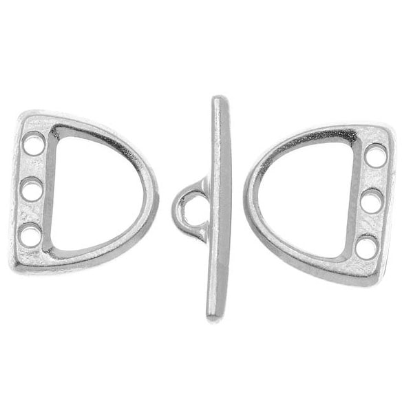 TierraCast Bright Rhodium Plated Lead-Free Pewter 3-Hole D Ring Toggle Clasp Set 13x15mm (1)