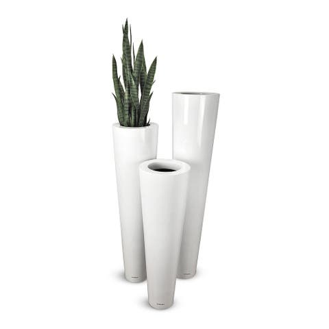 Lux Box Fiberglass Flower Pot 30X140Cm White.