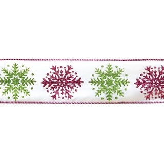 """Fuchsia & Green Snowflake Wired Floral, Craft & Christmas Ribbon 2.5"""" x 60 Yards"""