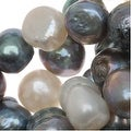 Peacock Blue, Grey and White Nugget Cultured Pearl Mix 7-10mm/ 15.5 Inch - Thumbnail 0