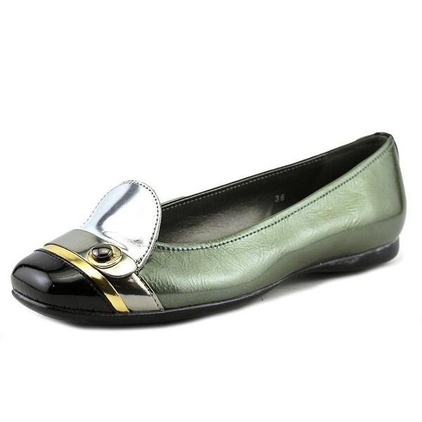 Hogan Coquette Linguett Disco+Bo Women  Square Toe Patent Leather Green Flats