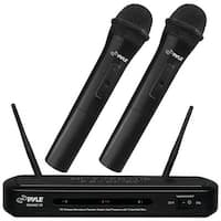 PYLE PRO PDWM2130 FM Wireless Dual-Frequency Microphone Receiver System with 2 Handheld Microphones