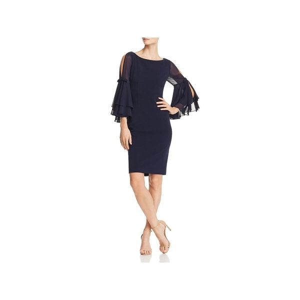 Eliza J Womens Cocktail Dress Illusion Bell Sleeve Navy 4