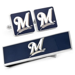 Milwaukee Brewers Cufflinks and Money Clip Gift Set MLB - Blue