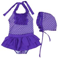 Wenchoice Little Girls Purple Polka Dot Ruffle Cap Swimsuit 3 Pc Set