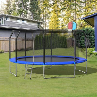 High life Furniture 14' Round Trampoline with Safety Enclosure Net