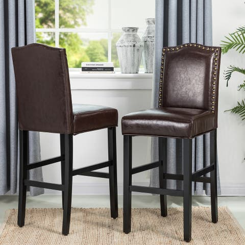 "Glitzhome 45""H Leatherette Barchair with Studded back Set of 2"