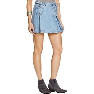 Free People Womens Denim Skirt Denim Lace Up
