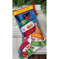 "Freezin' Season Stocking Needlepoint Kit-16"" Long Stitched In Wool & Thread"