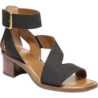 Franco Sarto Women's Lorelia Ankle Strap Sandal Black Kaa Leather