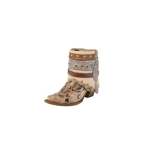 """Corral Fashion Boots Womens 6.5"""" Flipped Shaft Ankle Cognac"""