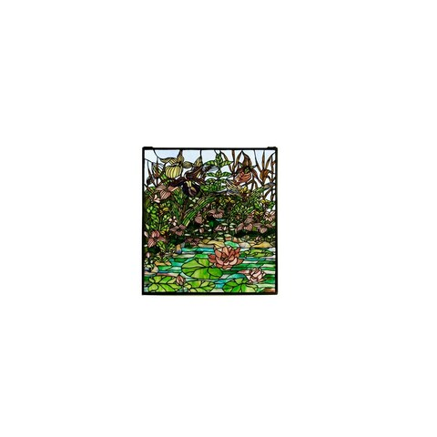 Meyda Tiffany 21915 Tiffany Stained Glass Window Pane from the Woodland Lilypond Collection - solid brass - n/a