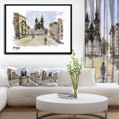 Designart 'Prague Hand drawn Illustration' Cityscape Framed Canvas Print