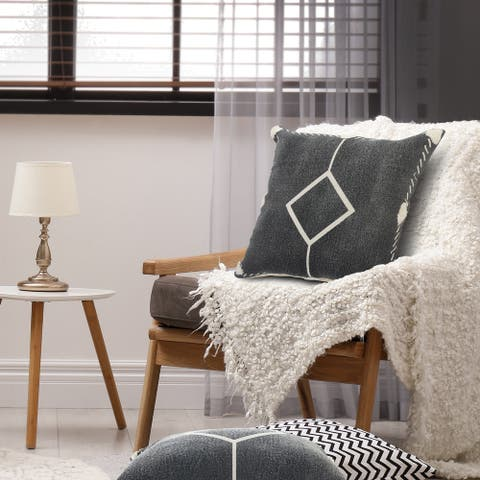 Bordered and Tufted Geometric Throw Pillow