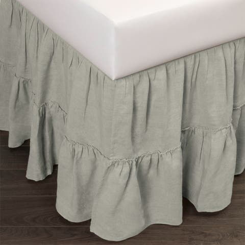 Courtney Linen Seaglass 3 Piece Tuck-In Bed Skirt
