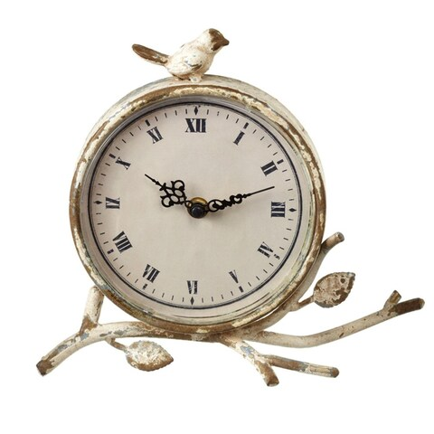 """Pack of 2 Ivory and Black Antique-Style Distressed Round Roman Numeral Desk Clock with Bird 9.75"""""""