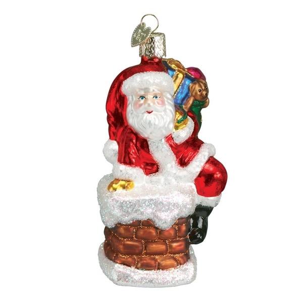 "4"" Old World Christmas Santa in Chimney Glass Ornament #40011"