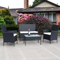 Costway 4 PC Outdoor Rattan Furniture Set Loveseat Sofa Cushioned Patio Garden Steel - as pic