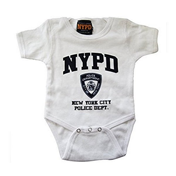 Shop Nypd Infant Bodysuit White With Navy Chest Print Free