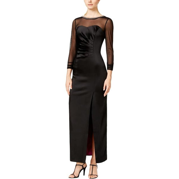 Tahari Asl Womens Aaron Evening Dress Satin Embellished