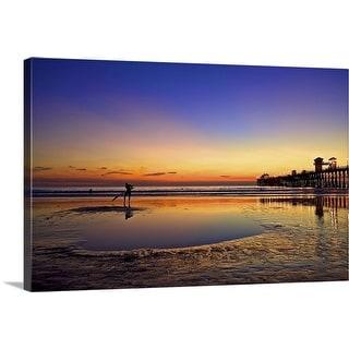 """Oceanside pier at sunset, Oceanside, California"" Canvas Wall Art"