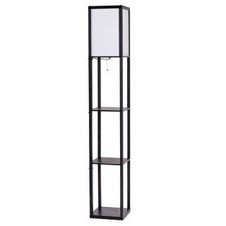 Costway Modern Shelf Floor Lamp Lighting Home Living Room W/ 3 Storage  Shelves   As